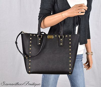 Nwt Michael Kors Black Studded Leather Satchel Bag Messenger Tote Handbag Purse