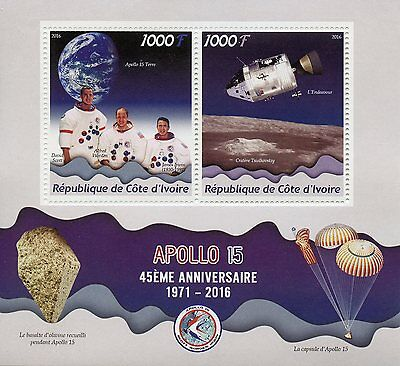 Ivory Coast 2016 MNH Apollo 45th Anniv Scott Irwin Worden 2v M/S Space Stamps
