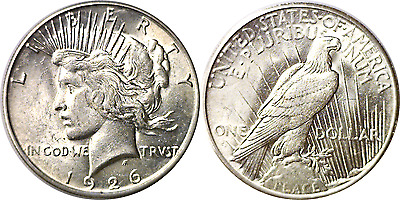 1926-S $1 Silver Peace Dollar Almost Uncirculated