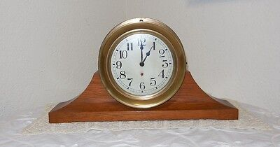Antique Ships Clock Maritime Teak Wood From Battleship Nebraska