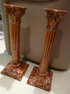 Large Pair of Burmantofts Leeds Candlesticks, late 19th Century