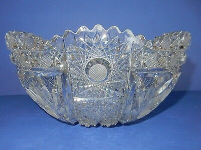"""Heavy Antique American Brilliant Cut Glass Crystal Abp 9"""" Large Bowl"""