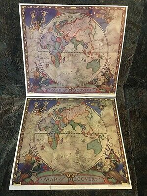 1928 Eastern Hemisphere. National Geographic Map Of Discovery. Lot Of 2 Wyeth