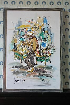 1970s German oil on canvas painting of Chinatown