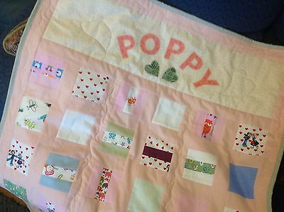 "Personalised Baby Patchwork Cot Quilt For "" POPPY "". 100% Cotton Hand Crafted"