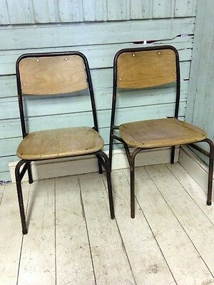Mid Century Vintage 1960's Stacking School Child Chairs Tubular Metal Danish