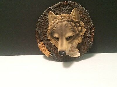 .99 Gray Wolf Head Resin Wall Hanging Wildlife Figure Home Decor Wolves Art