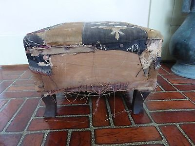 Antique Primitive Footstool Hardwood Oak? Old Torn Upholstery Cabin Ranch
