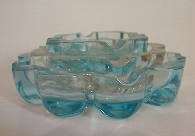 Vintage Blue (2) and Clear (1) Pressed Glass Nested Ash Trays  Set of 3