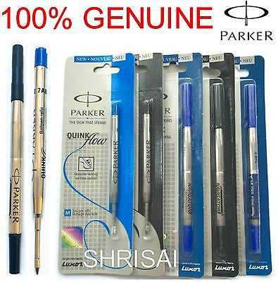 GENUINE PARKER Refill Biro for JOTTER / ROLLERBALL Quink Flow Ink Black/ Blue
