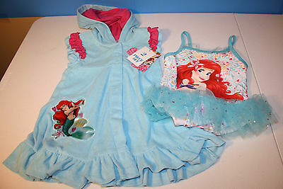 NWT New DISNEY Ariel The Little Mermaid Swimsuit & Cover up Set  3T