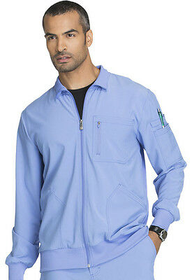 532dbecfa29 Cherokee Infinity Men's Scrub Zip Front Warm-up Jacket in Ciel Blue Style  CK305