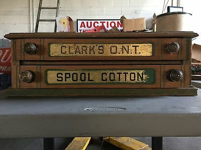Antique Clark's O.N.T. Spool Cabinet w/ Two Drawers - Glass Letters ESTATE FRESH