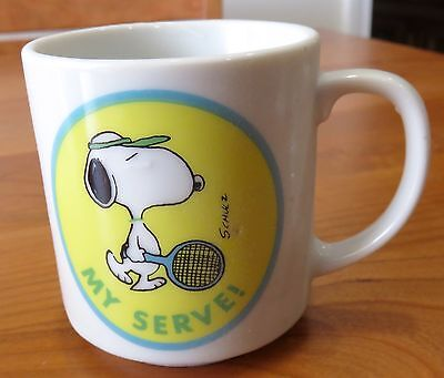 "Vintage Snoopy Coffee Mug Tennis ""My Serve"" Determined Productions"