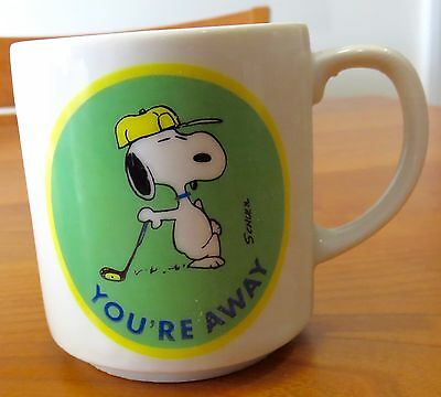 "Vintage Snoopy Coffee Mug Golf ""You're Away"" Determined Productions"