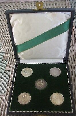 5 German States 2 Mark Commems in Leather Case - Baden Bavaria Prussia Weimar