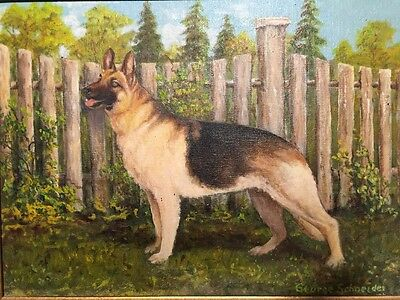 Vintage Dog Painting - German Shepherd