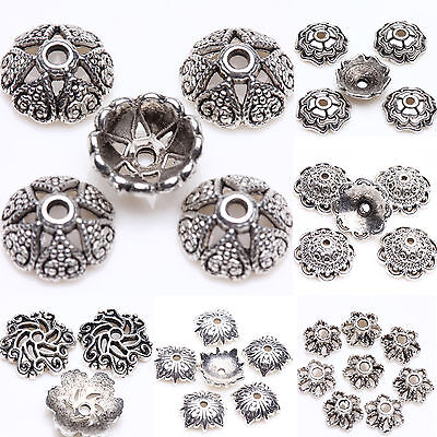 Wholesale Tibet Silver Plated Loose Spacer Bead Flower Caps Jewelry Making