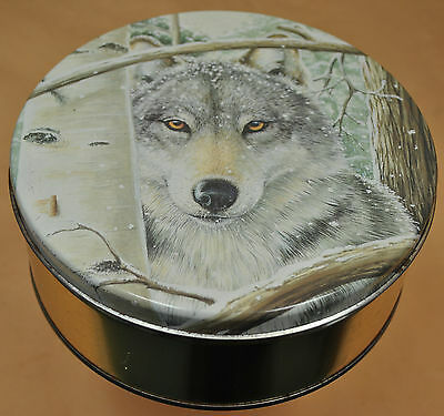 Metal Tin Can Box Container Gift With Lid Wolf Face Snow White Birch Tree Wolves
