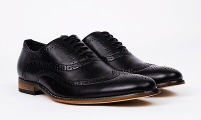 NEW Signature Men's Wing Tip Lace-Up Dress Shoes - Black Size 10.5