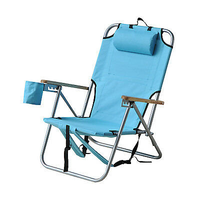 Outsunny Outdoor Backpack Folding Chair  Portable Hiking Adjustable Seat Camping