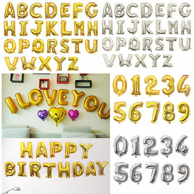 """16"""" Alphabet (Letter)/Number Foil Balloons - Gold/Silver - Birthday Weding Party"""
