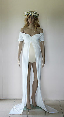 Ivory Off Shoulder Maternity Dress Gown - Photography Photo Prop - Size 8-12