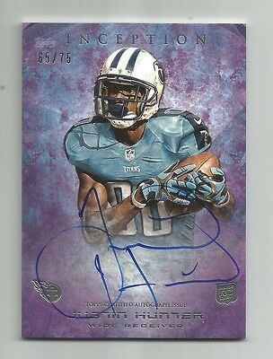2013 Topps Inception Titans Justin Hunter Rookie Autograph Card /75