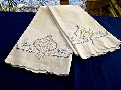 2 Antique Italian White Cotton Guest Towels Point Venise Lace Blue Embroidery