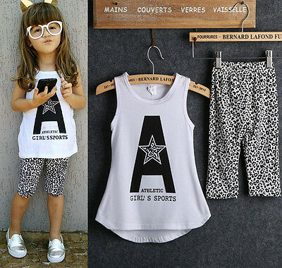 Toddler Kids Baby Girls Outfits Sleeveless T-shirt+Leopard Short Pants 2PCS Set