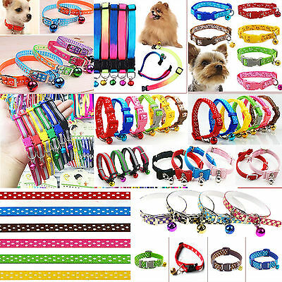 Adjustable Small Pet Dog PU Leather Collar Puppy Cat Buckle Neck Strap 11 Styles