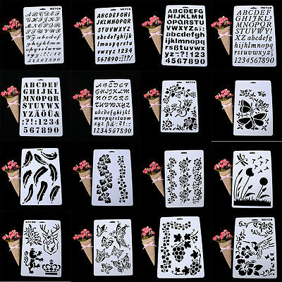 Letter Alphabet Number Layering Stencils Painting Scrapbooking Paper Card Craft