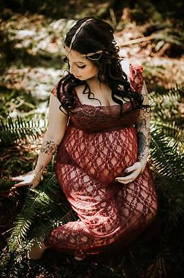 Burgundy Lace Maternity Dress Gown - Photography Photo Prop