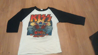 Kiss 10th Aniversary 1982 Baseball cut Shirt - Size S - Vintage - Original Rare