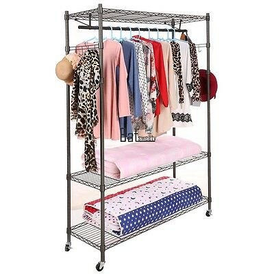 Large 3-Tier Rolling Clothing Garment Rack Shelving Wire Shelf Space Saving BTSY