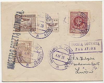 1926 Poland Lopp Paramilitary Air Label Aviation Plane Gas Charity Cover Lemberg