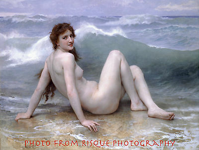 "Nude Woman on Beach 8.5x11"" Photo Print Lovely Fine Art Ocean Wave Bouguereau"