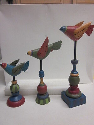 Hand Painted Wood Folk Art figurine Birds Décor by Midwest –Set of 3