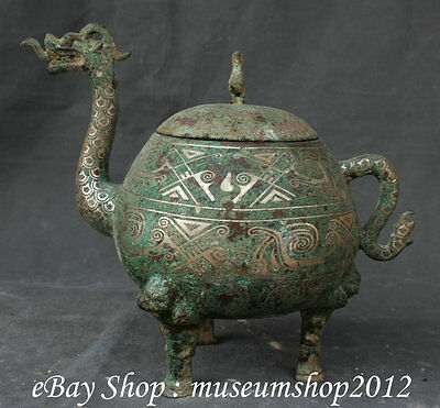 "10"" Old Chinese Dynasty Bronze Silver Ware Dragon Handle Phoenix Drink Flagon"