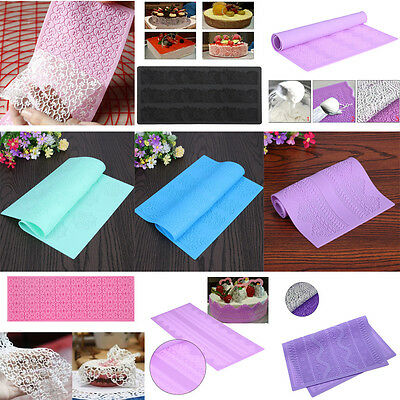 Sugar Craft Lace Silicone Mold Fondant Mat Mould Cake Decorating Baking Tool Pad