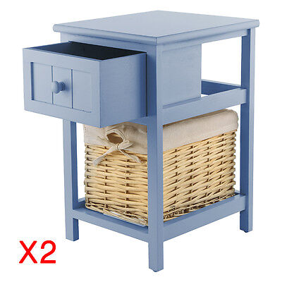 Pair of Grey Chic Bedside Unit Tables Home Drawers Cabinet with Wicker Storage