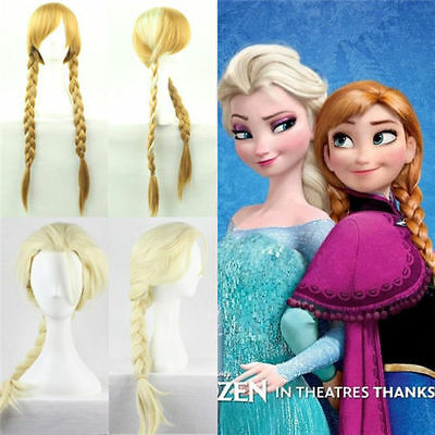 Anime Lolita Wavy Frozen ice Romance Elsa Anna Princess Cosplay Hair Wigs New OP