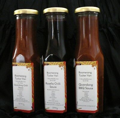 3 QUANDONG & ROSELLA CHILLI SAUCES & CHUTNEY very tasty for the Aussie BBQ!