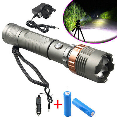 10000LM XM-L T6 LED 5 Modes Zoomable Tactical Flashlight Torch 18650 Sit UK