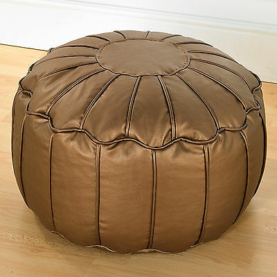 Copper Metallic Luxury Faux Leather Piped Moroccan Bean Fully Filled Footstool