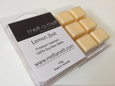 Wax Melts LEMON ZEST Premium soy High Scented 100% Handmade  FREE POST