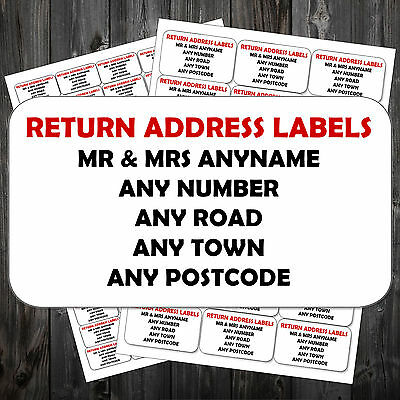 Personalised Sticky Self Adhesive Return Address Labels Pre Printed Mini Size*