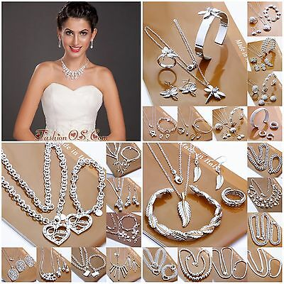 925 sterling silver filled sets bracelet necklace earrings ring fashion jewelry