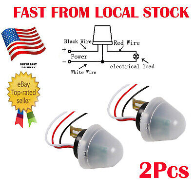 2x Non Ajustable AC/ DC 12V Photo Sensor Switch Auto On Off Street Light IN US