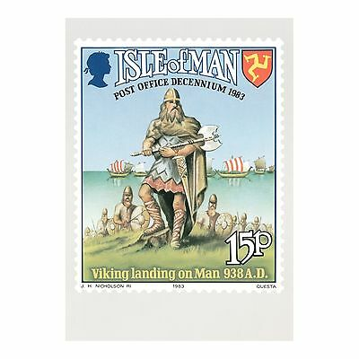 Viking Landing On Man 938 Ad - Isle Of Man J H Nicholson Ri Post Office Postcard